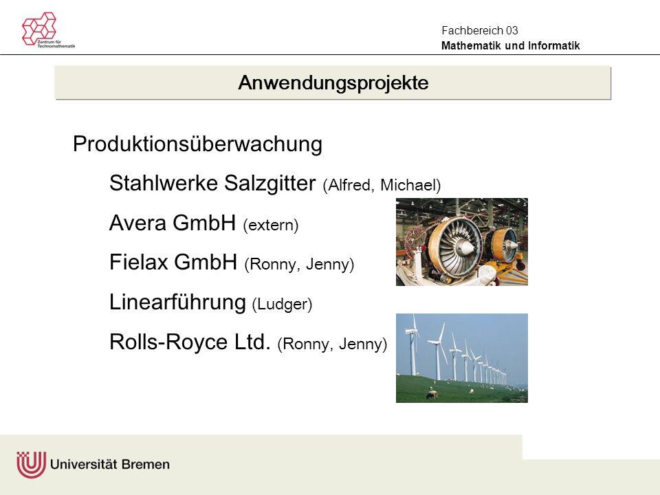 Mathematik und Informatik Fachbereich 03 Produktionsüberwachung Stahlwerke Salzgitter (Alfred, Michael) Avera GmbH (extern) Fielax GmbH (Ronny, Jenny) Linearführung (Ludger) Rolls-Royce Ltd.