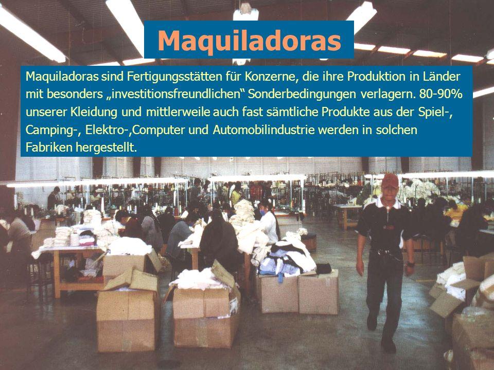 Maquiladoras Entlang der Landenge von Tehuantepec sowie in anderen PPP-Regionen sollen Maquiladoras errichtet werden. In Mexiko existieren bereits übe