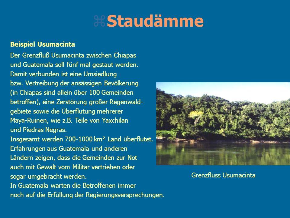 zStaudämme Beispiel Usumacinta Der Grenzfluß Usumacinta zwischen Chiapas und Guatemala soll fünf mal gestaut werden. Damit verbunden ist eine Umsiedlu