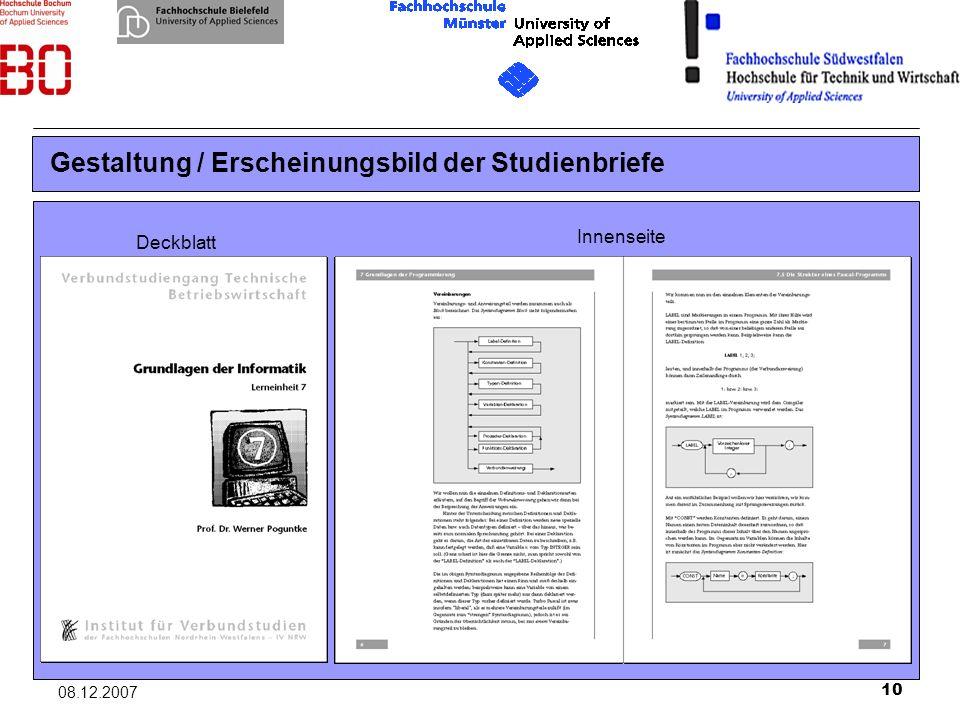 10 08.12.2007 Gestaltung / Erscheinungsbild der Studienbriefe Deckblatt Innenseite