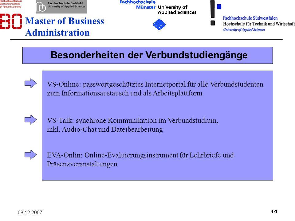 14 08.12.2007 VS-Online: passwortgeschütztes Internetportal für alle Verbundstudenten zum Informationsaustausch und als Arbeitsplattform EVA-Onlin: On