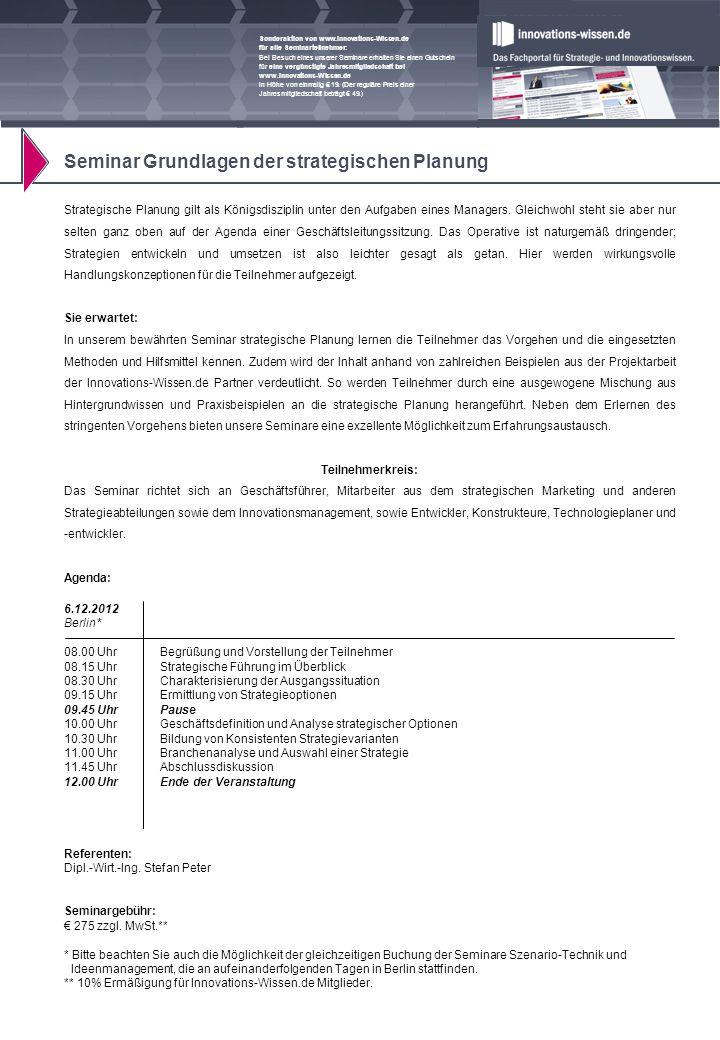 Sonderaktion von www.Innovations-Wissen.de für alle Seminarteilnehmer: Bei Besuch eines unserer Seminare erhalten Sie einen Gutschein für eine vergünstigte Jahresmitgliedschaft bei www.Innovations-Wissen.de in Höhe von einmalig 19.