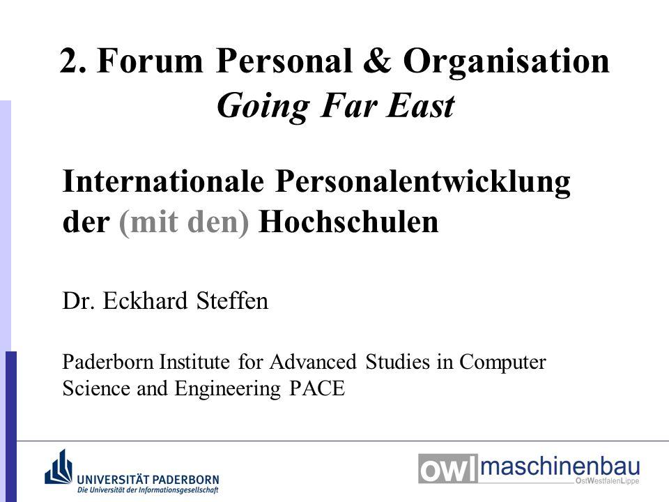 2. Forum Personal & Organisation Going Far East Internationale Personalentwicklung der (mit den) Hochschulen Dr. Eckhard Steffen Paderborn Institute f