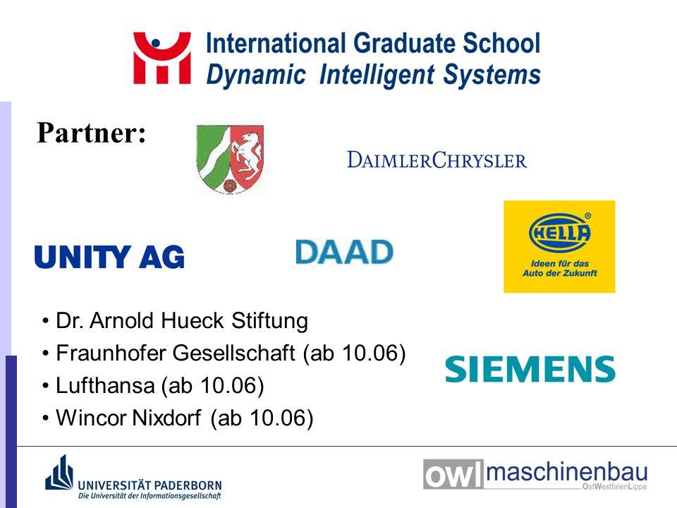 Dr. Arnold Hueck Stiftung Fraunhofer Gesellschaft (ab 10.06) Lufthansa (ab 10.06) Wincor Nixdorf (ab 10.06) Partner:
