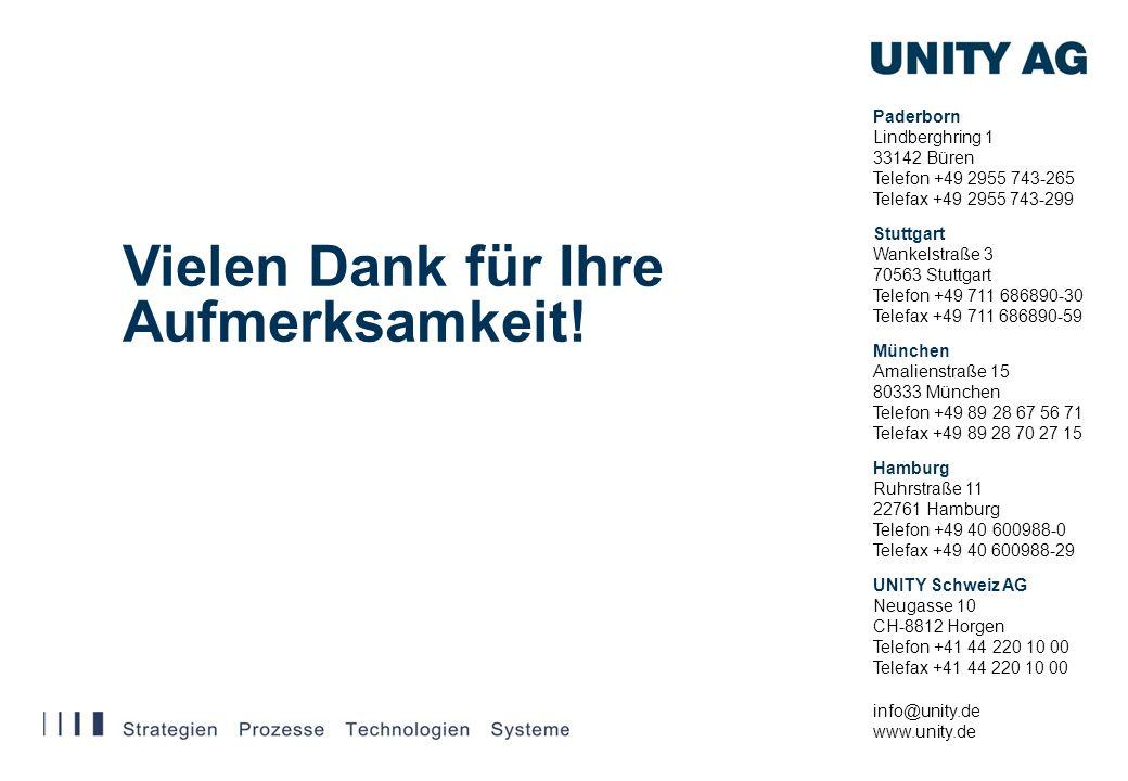 Vielen Dank für Ihre Aufmerksamkeit! Paderborn Lindberghring 1 33142 Büren Telefon +49 2955 743-265 Telefax +49 2955 743-299 info@unity.de www.unity.d