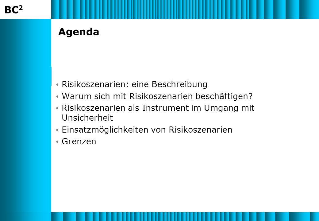 BC 2 Agenda Risikoszenarien: eine Beschreibung Warum sich mit Risikoszenarien beschäftigen.