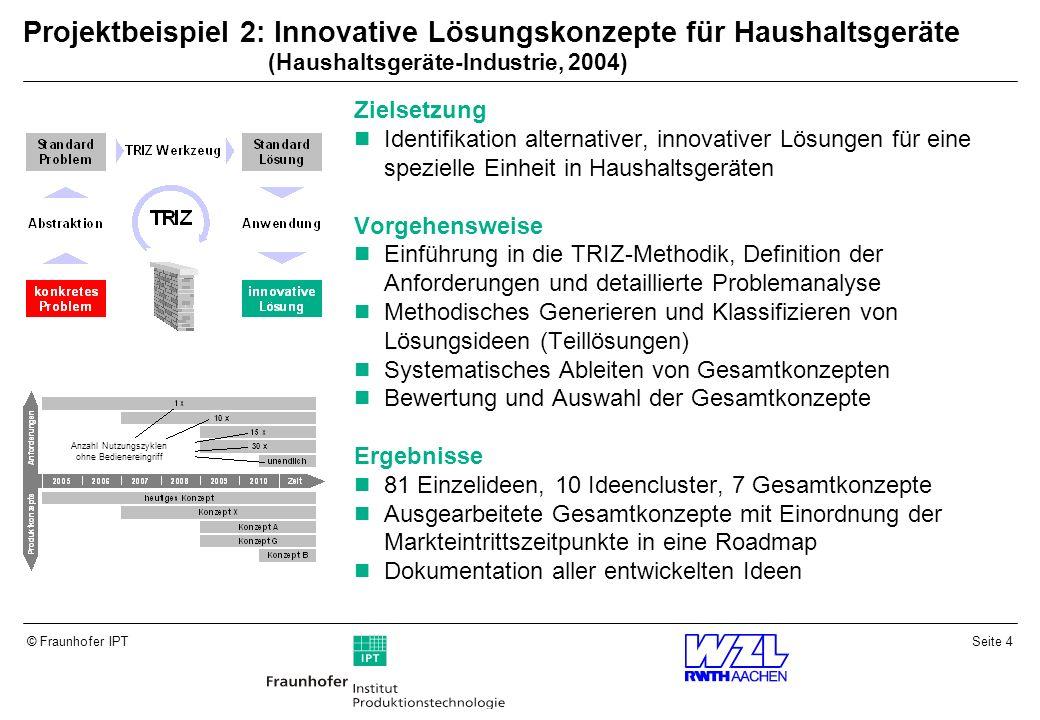 Seite 15© Fraunhofer IPT Der Entwickler sucht in seinem Fachgebiet nach Lösungen.