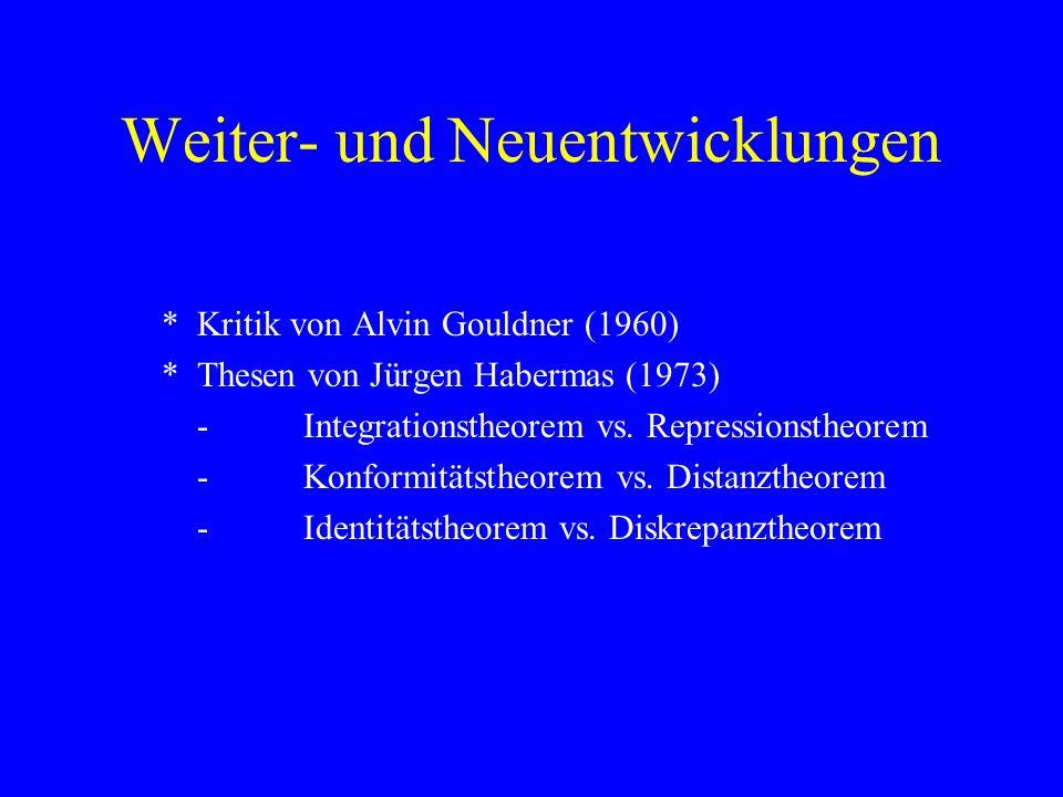 Weiter- und Neuentwicklungen *Kritik von Alvin Gouldner (1960) *Thesen von Jürgen Habermas (1973) -Integrationstheorem vs. Repressionstheorem -Konform