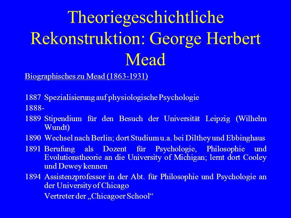 Theoriegeschichtliche Rekonstruktion: George Herbert Mead Biographisches zu Mead (1863-1931) 1887Spezialisierung auf physiologische Psychologie 1888-