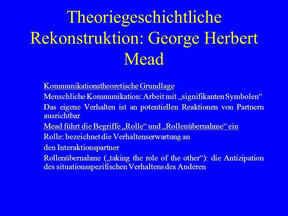 Theoriegeschichtliche Rekonstruktion: George Herbert Mead Kommunikationstheoretische Grundlage Menschliche Kommunikation: Arbeit mit signifikanten Sym