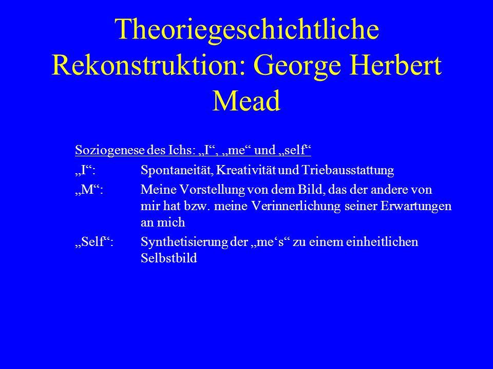 Theoriegeschichtliche Rekonstruktion: George Herbert Mead Soziogenese des Ichs: I, me und self I:Spontaneität, Kreativität und Triebausstattung M:Meine Vorstellung von dem Bild, das der andere von mir hat bzw.