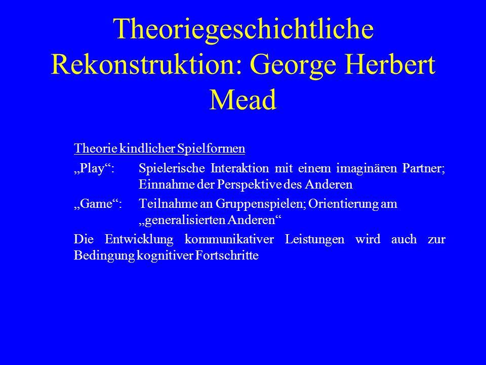 Theoriegeschichtliche Rekonstruktion: George Herbert Mead Theorie kindlicher Spielformen Play:Spielerische Interaktion mit einem imaginären Partner; Einnahme der Perspektive des Anderen Game:Teilnahme an Gruppenspielen; Orientierung am generalisierten Anderen Die Entwicklung kommunikativer Leistungen wird auch zur Bedingung kognitiver Fortschritte