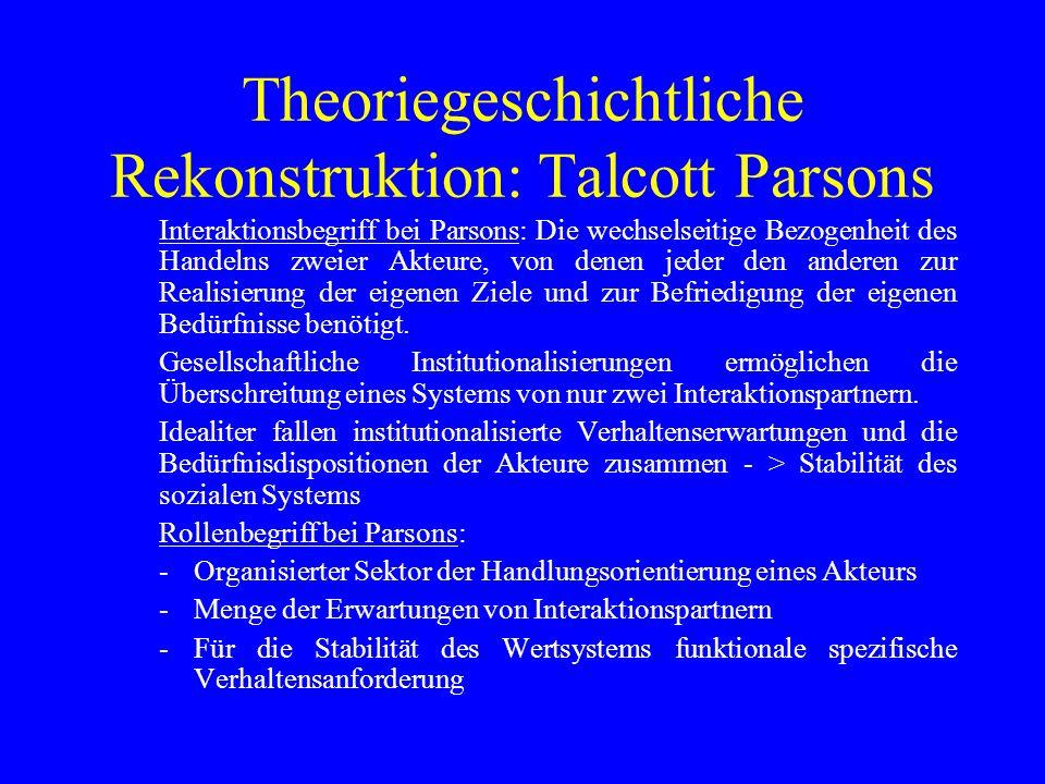 Theoriegeschichtliche Rekonstruktion: Talcott Parsons Interaktionsbegriff bei Parsons: Die wechselseitige Bezogenheit des Handelns zweier Akteure, von denen jeder den anderen zur Realisierung der eigenen Ziele und zur Befriedigung der eigenen Bedürfnisse benötigt.