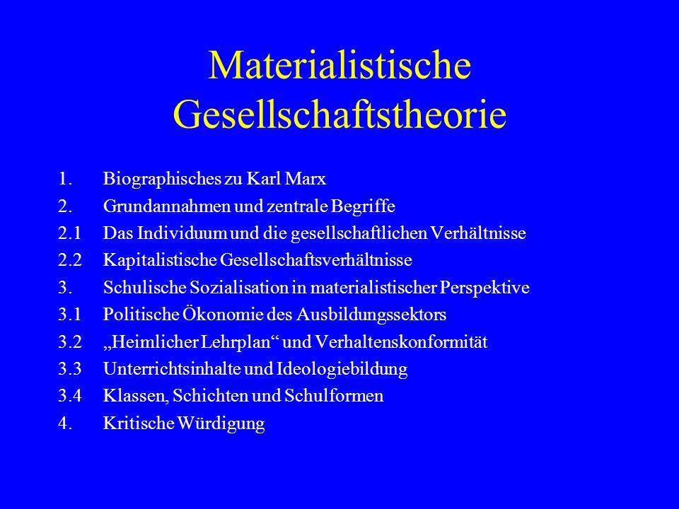 Materialistische Gesellschaftstheorie 1.Biographisches zu Karl Marx 2.Grundannahmen und zentrale Begriffe 2.1Das Individuum und die gesellschaftlichen