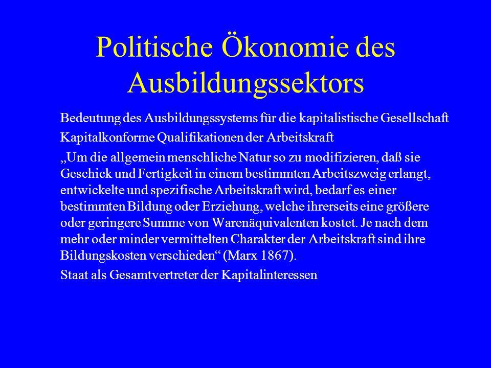 Politische Ökonomie des Ausbildungssektors Bedeutung des Ausbildungssystems für die kapitalistische Gesellschaft Kapitalkonforme Qualifikationen der A