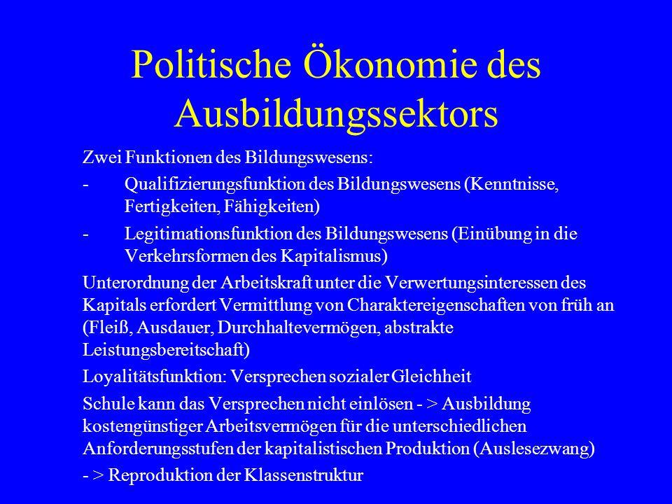 Politische Ökonomie des Ausbildungssektors Zwei Funktionen des Bildungswesens: -Qualifizierungsfunktion des Bildungswesens (Kenntnisse, Fertigkeiten,