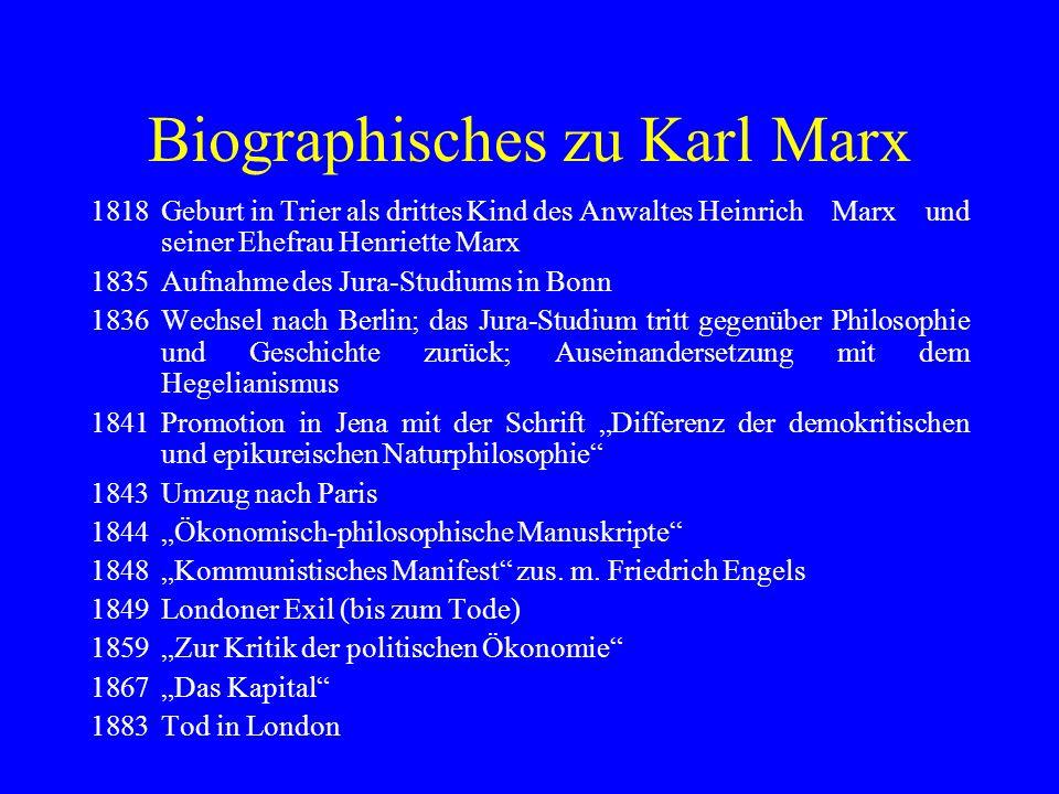 Biographisches zu Karl Marx 1818Geburt in Trier als drittes Kind des Anwaltes Heinrich Marx und seiner Ehefrau Henriette Marx 1835Aufnahme des Jura-St