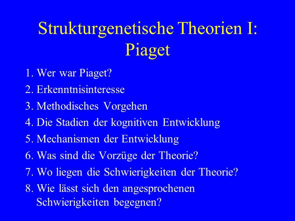 Strukturgenetische Theorien I: Piaget 1. Wer war Piaget? 2. Erkenntnisinteresse 3. Methodisches Vorgehen 4. Die Stadien der kognitiven Entwicklung 5.