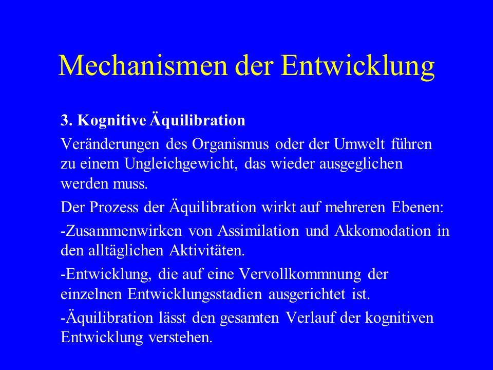 Mechanismen der Entwicklung 3. Kognitive Äquilibration Veränderungen des Organismus oder der Umwelt führen zu einem Ungleichgewicht, das wieder ausgeg