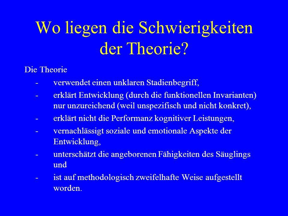 Wo liegen die Schwierigkeiten der Theorie? Die Theorie -verwendet einen unklaren Stadienbegriff, -erklärt Entwicklung (durch die funktionellen Invaria