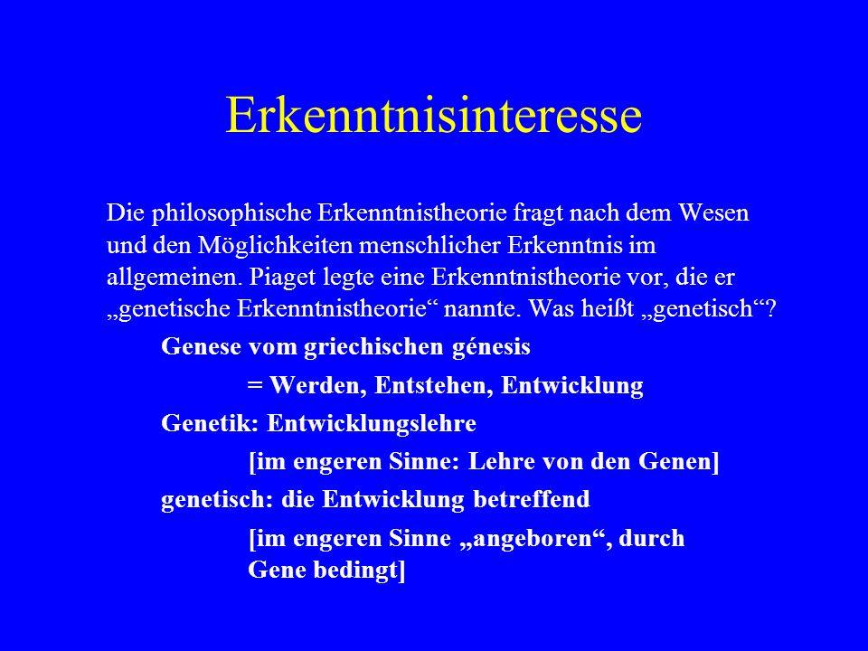 Erkenntnisinteresse Die philosophische Erkenntnistheorie fragt nach dem Wesen und den Möglichkeiten menschlicher Erkenntnis im allgemeinen. Piaget leg