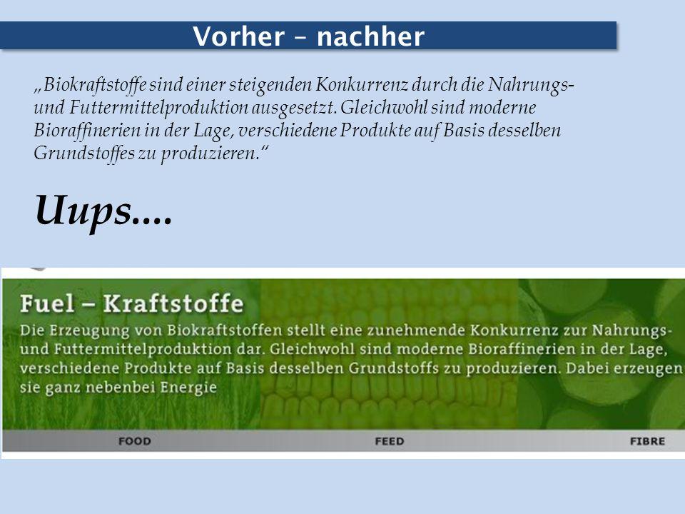 Vorher – nachher Biokraftstoffe sind einer steigenden Konkurrenz durch die Nahrungs- und Futtermittelproduktion ausgesetzt. Gleichwohl sind moderne Bi