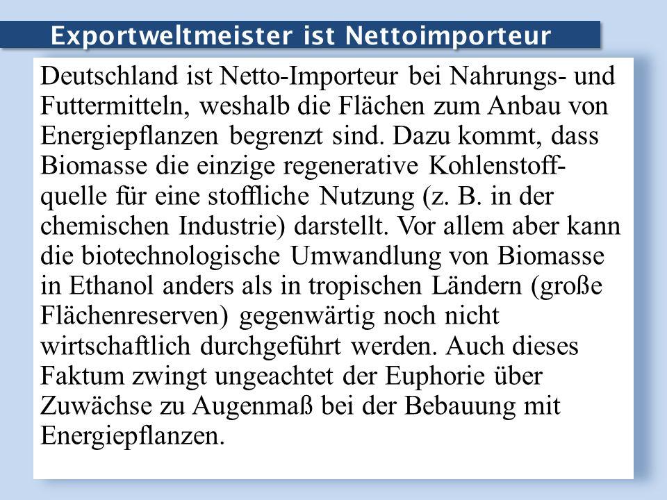 Exportweltmeister ist Nettoimporteur Deutschland ist Netto-Importeur bei Nahrungs- und Futtermitteln, weshalb die Flächen zum Anbau von Energiepflanze