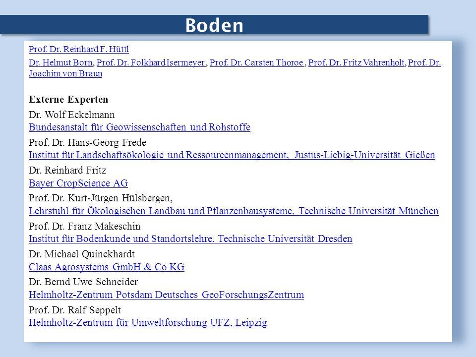 Boden Prof. Dr. Reinhard F. Hüttl Dr. Helmut BornDr. Helmut Born, Prof. Dr. Folkhard Isermeyer, Prof. Dr. Carsten Thoroe, Prof. Dr. Fritz Vahrenholt,