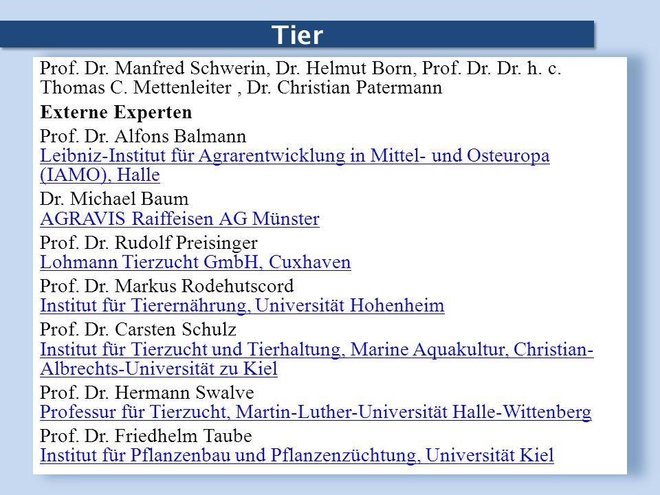 Tier Prof. Dr. Manfred Schwerin, Dr. Helmut Born, Prof. Dr. Dr. h. c. Thomas C. Mettenleiter, Dr. Christian Patermann Externe Experten Prof. Dr. Alfon
