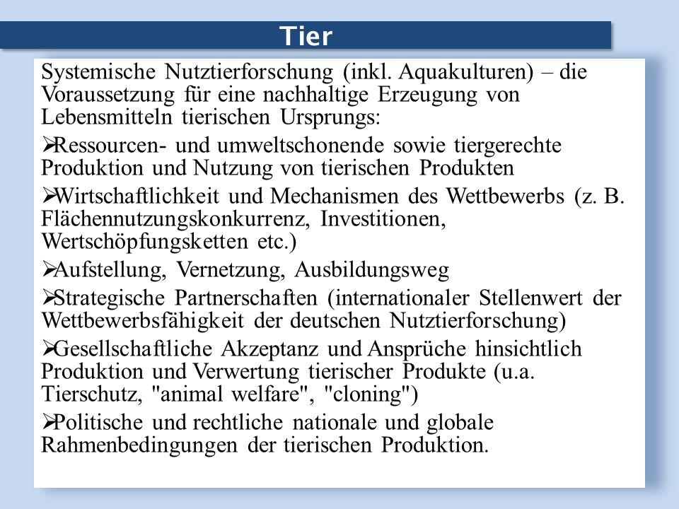 Tier Systemische Nutztierforschung (inkl. Aquakulturen) – die Voraussetzung für eine nachhaltige Erzeugung von Lebensmitteln tierischen Ursprungs: Res