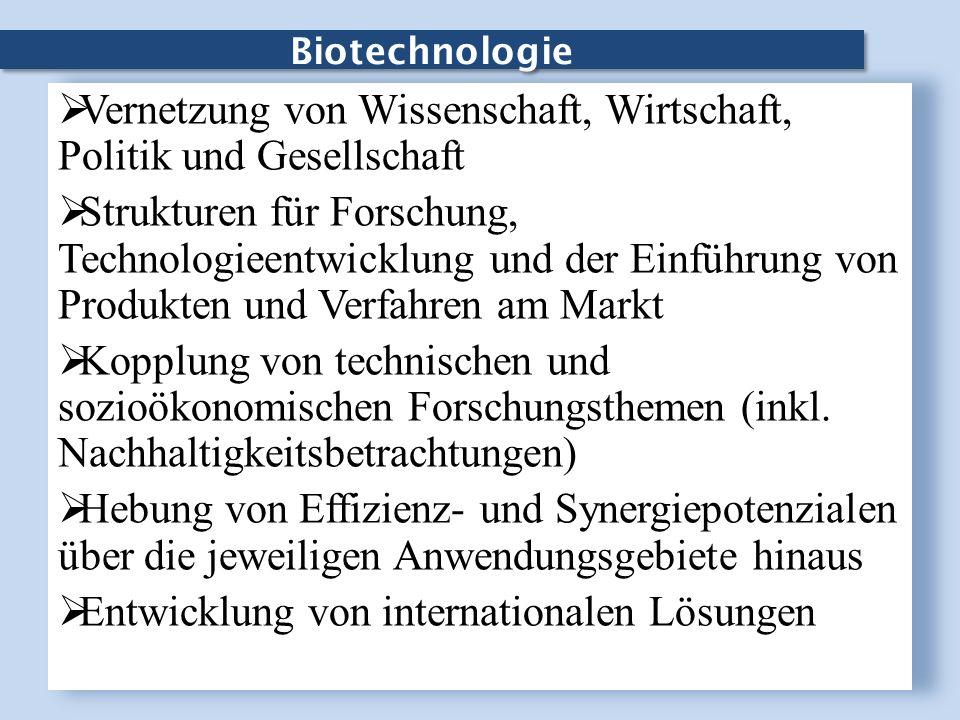 Biotechnologie Vernetzung von Wissenschaft, Wirtschaft, Politik und Gesellschaft Strukturen für Forschung, Technologieentwicklung und der Einführung v