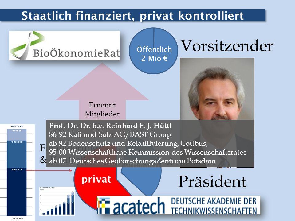 Staatlich finanziert, privat kontrolliert Öffentlich 2 Mio privat Finanzierung & Kontrolle Vorsitzender Präsident Ernennt Mitglieder öffentlich Prof.