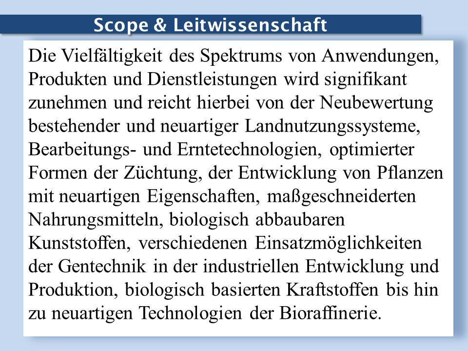 Scope & Leitwissenschaft Die Vielfältigkeit des Spektrums von Anwendungen, Produkten und Dienstleistungen wird signifikant zunehmen und reicht hierbei
