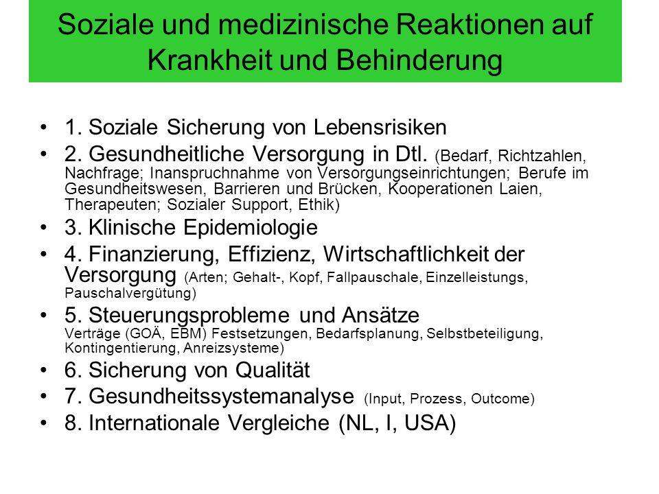 Soziale und medizinische Reaktionen auf Krankheit und Behinderung 1. Soziale Sicherung von Lebensrisiken 2. Gesundheitliche Versorgung in Dtl. (Bedarf