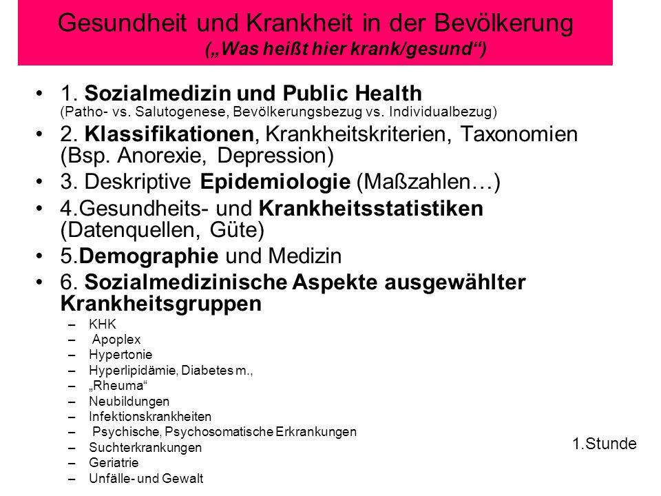 Gesundheit und Krankheit in der Bevölkerung (Was heißt hier krank/gesund) 1. Sozialmedizin und Public Health (Patho- vs. Salutogenese, Bevölkerungsbez