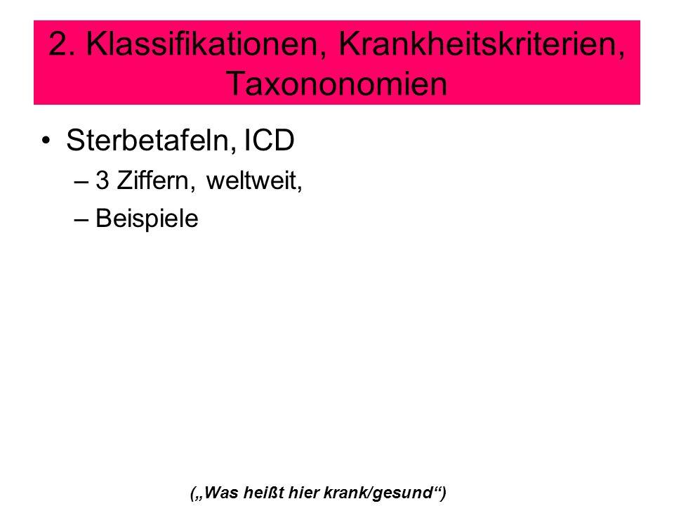 2. Klassifikationen, Krankheitskriterien, Taxononomien Sterbetafeln, ICD –3 Ziffern, weltweit, –Beispiele (Was heißt hier krank/gesund)