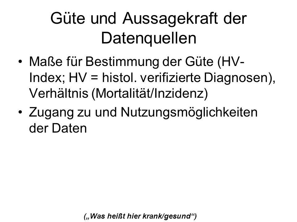 Güte und Aussagekraft der Datenquellen Maße für Bestimmung der Güte (HV- Index; HV = histol. verifizierte Diagnosen), Verhältnis (Mortalität/Inzidenz)