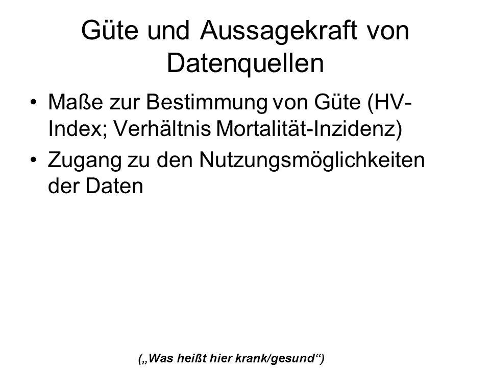Güte und Aussagekraft von Datenquellen Maße zur Bestimmung von Güte (HV- Index; Verhältnis Mortalität-Inzidenz) Zugang zu den Nutzungsmöglichkeiten de