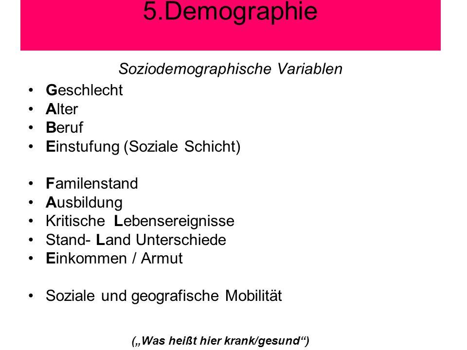 Soziodemographische Variablen Geschlecht Alter Beruf Einstufung (Soziale Schicht) Familenstand Ausbildung Kritische Lebensereignisse Stand- Land Unter