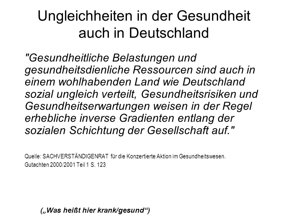Ungleichheiten in der Gesundheit auch in Deutschland