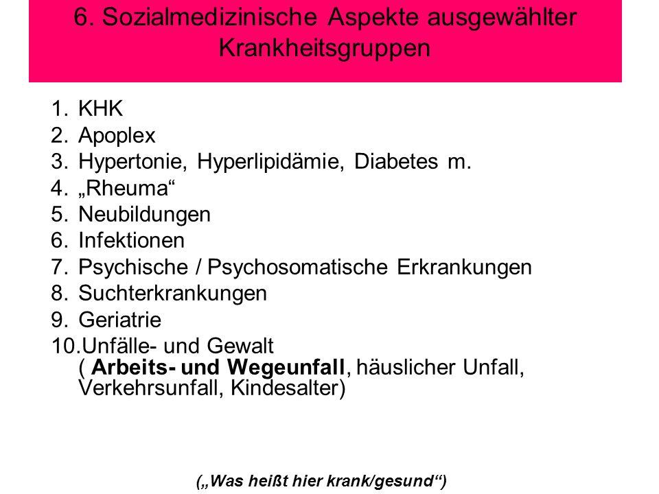 6. Sozialmedizinische Aspekte ausgewählter Krankheitsgruppen 1.KHK 2.Apoplex 3.Hypertonie, Hyperlipidämie, Diabetes m. 4.Rheuma 5.Neubildungen 6.Infek