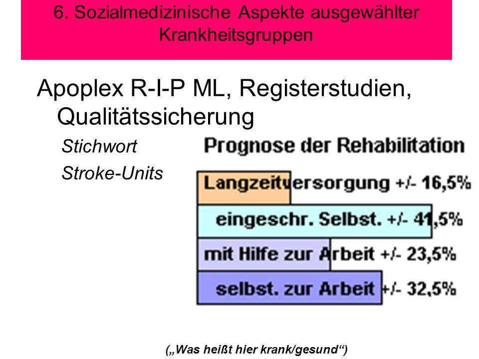 6. Sozialmedizinische Aspekte ausgewählter Krankheitsgruppen (Was heißt hier krank/gesund) Apoplex R-I-P ML, Registerstudien, Qualitätssicherung Stich