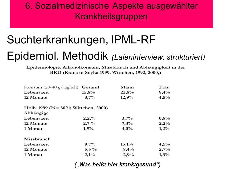 6. Sozialmedizinische Aspekte ausgewählter Krankheitsgruppen Suchterkrankungen, IPML-RF Epidemiol. Methodik (Laieninterview, strukturiert) (Was heißt