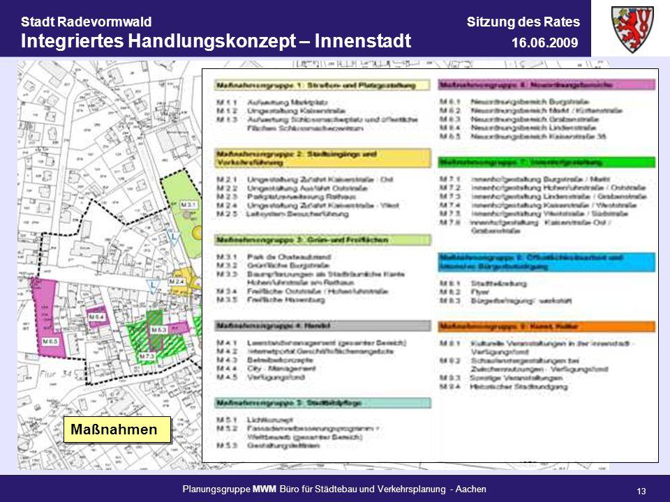 Planungsgruppe MWM Büro für Städtebau und Verkehrsplanung - Aachen 13 Stadt Radevormwald Sitzung des Rates Integriertes Handlungskonzept – Innenstadt