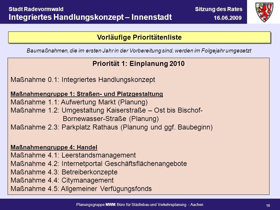 Planungsgruppe MWM Büro für Städtebau und Verkehrsplanung - Aachen 16 Stadt Radevormwald Sitzung des Rates Integriertes Handlungskonzept – Innenstadt