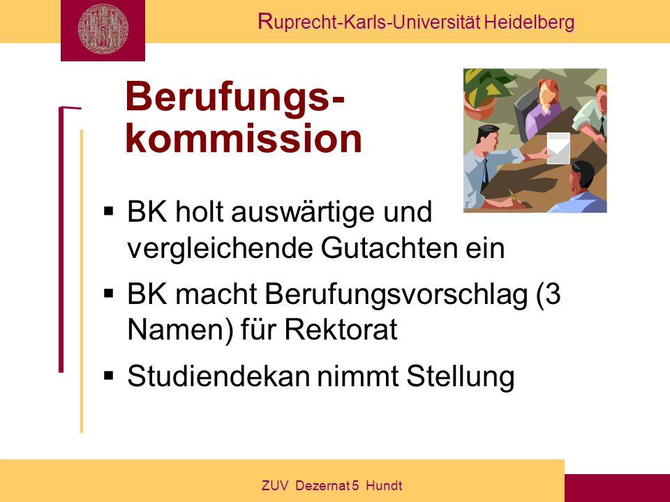 R uprecht-Karls-Universität Heidelberg ZUV Dezernat 5 Hundt Berufungs- kommission BK holt auswärtige und vergleichende Gutachten ein BK macht Berufungsvorschlag (3 Namen) für Rektorat Studiendekan nimmt Stellung