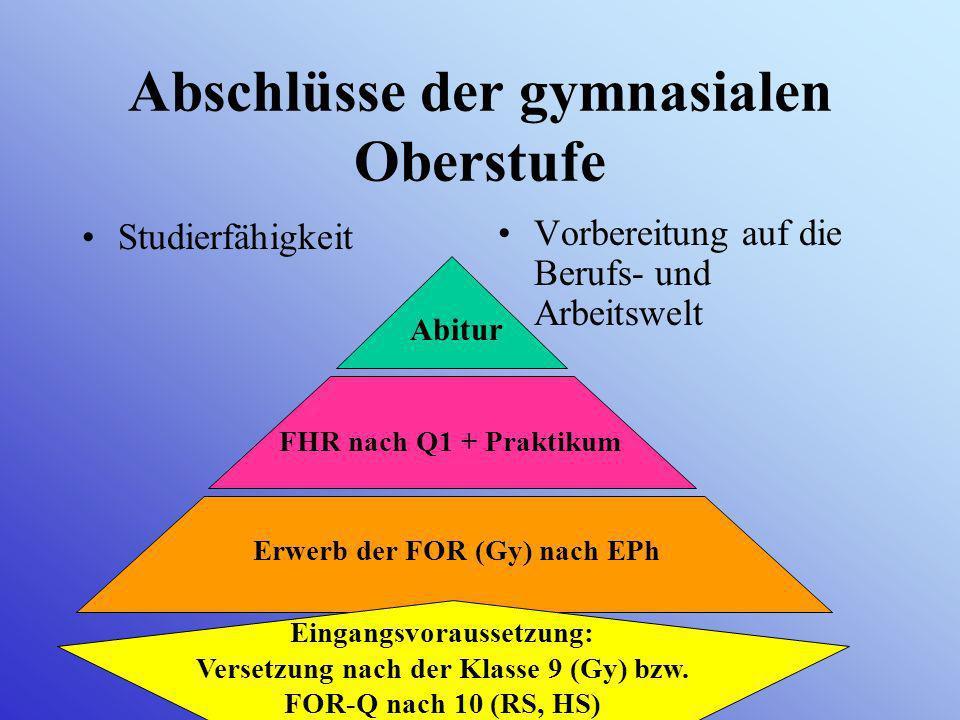 Information über das Kurssystem der gymnasialen Oberstufe am Mariengymnasium (Eintritt 2010, G 8)
