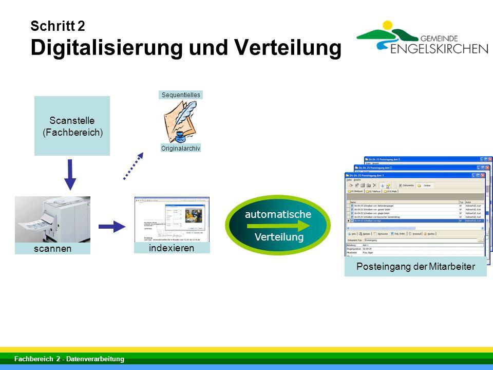 Fachbereich 2 - Datenverarbeitung Schritt 2 Digitalisierung und Verteilung scannen indexieren Scanstelle (Fachbereich) automatische Verteilung Postein