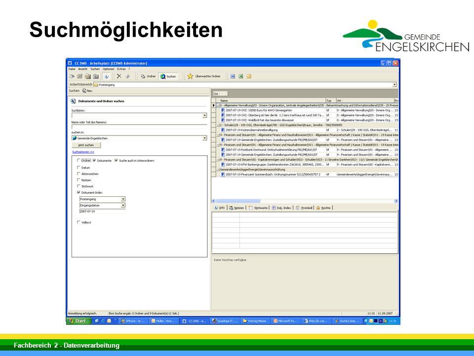 Fachbereich 2 - Datenverarbeitung Suchmöglichkeiten