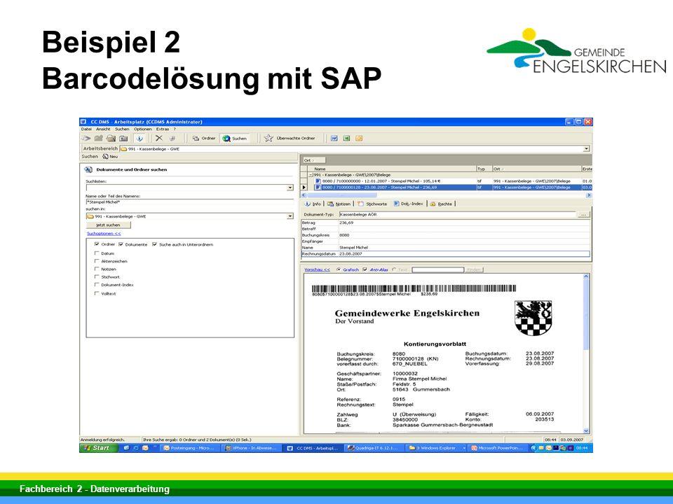 Fachbereich 2 - Datenverarbeitung Beispiel 2 Barcodelösung mit SAP